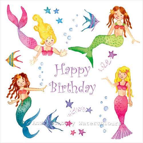 Birthday Bubbles Mermaids Birthday Card Andi Bunbury